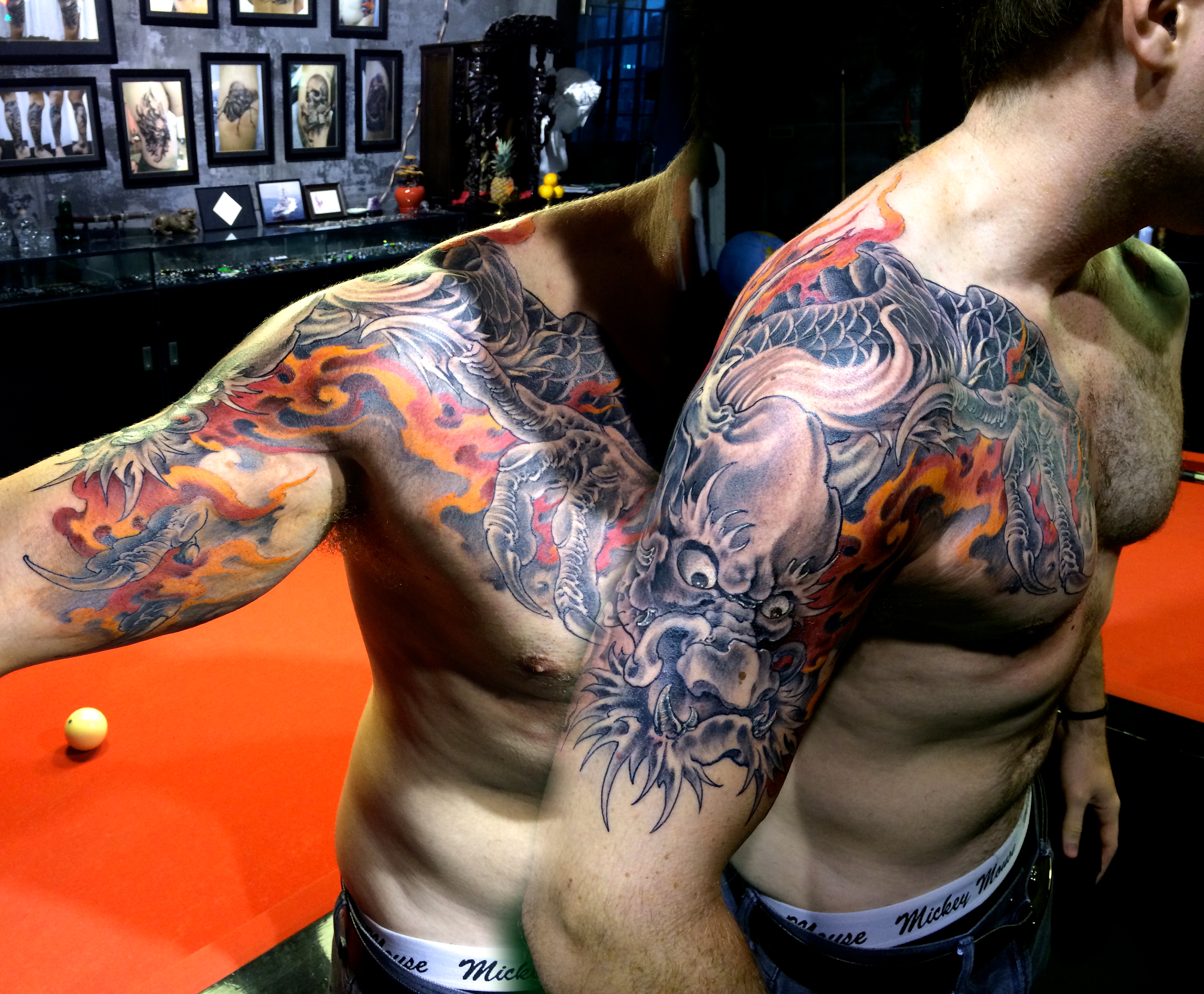 Color Dragon Red Fire Halfsleeve Tattoo Shanghaitattoo