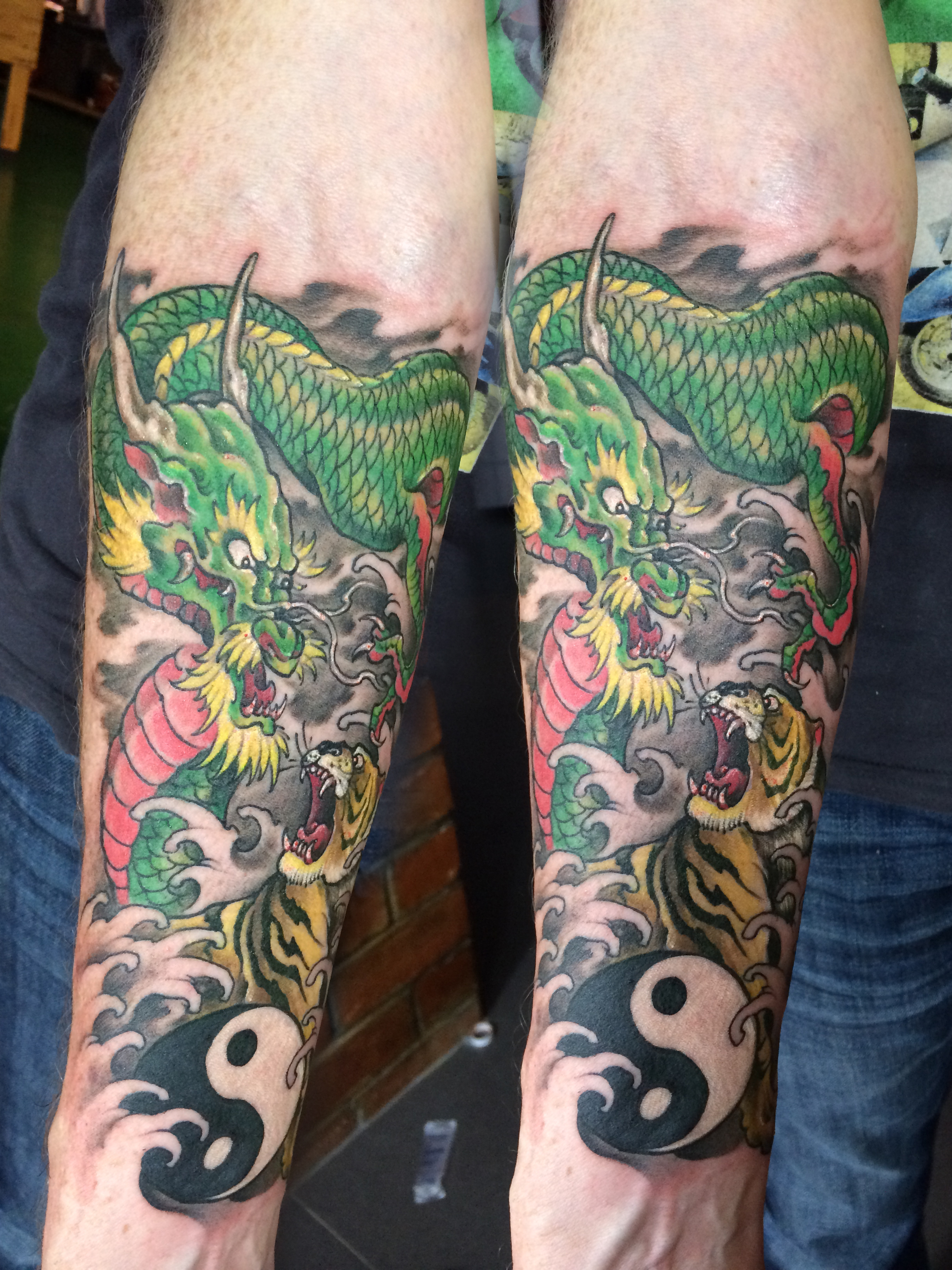 color-dragon-tiger-forearm-tattoo - ShanghaiTattoo